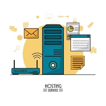 Servizio di hosting con tower server e router wireless