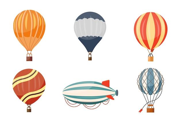 Set di icone di aerostato di aria calda e dirigibile. viaggio in mongolfiera estate fumetto avventura hotair.