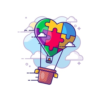 Fumetto di giorno di autismo dell'aerostato di aria calda. concetto di giorno di autismo. stile cartone animato piatto.