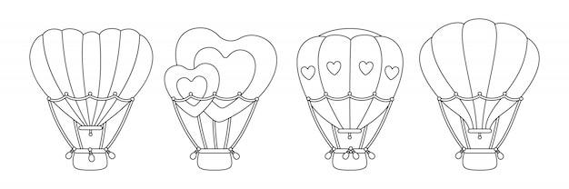 Mongolfiera nera lineare set a forma di cuore