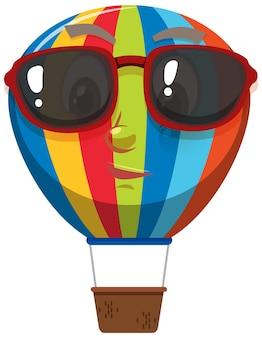 Personaggio dei cartoni animati di mongolfiera che indossa occhiali da sole su sfondo bianco