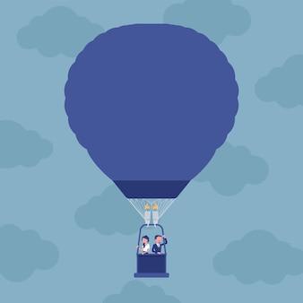 Viaggio in mongolfiera per uomini d'affari. uomo d'affari e donna d'affari che fluttuano in alto, godono di un progetto straordinario o di un'avventura di avvio, passano a una nuova prospettiva e risultati. illustrazione vettoriale
