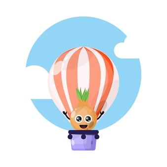 Cipolla in mongolfiera simpatico personaggio mascotte