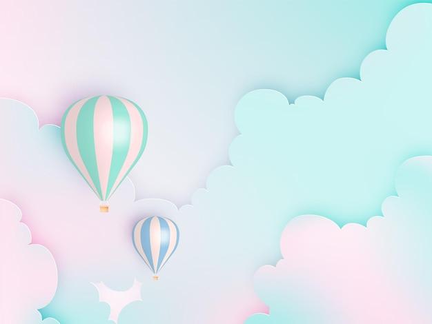 Stile di arte della carta dell'aerostato di aria calda con cielo pastello