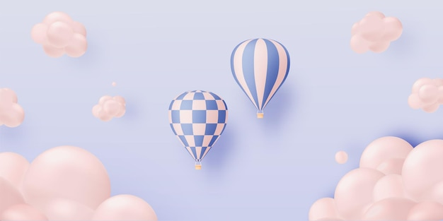 Stile artistico di carta per mongolfiere con pastelli