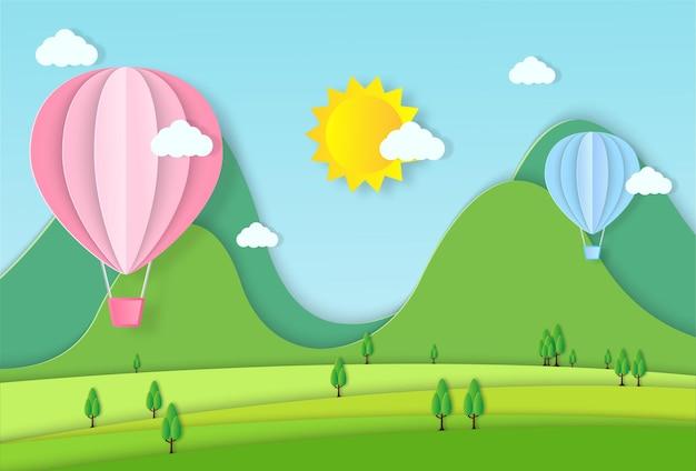 Illustrazione di viaggio in mongolfiera