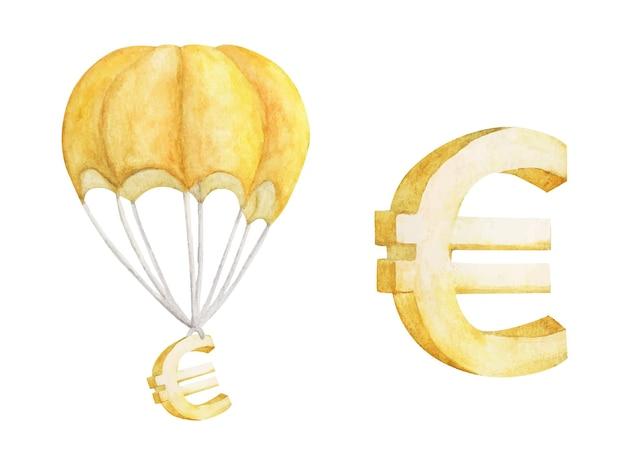 Mongolfiera con golden euro isolato su bianco