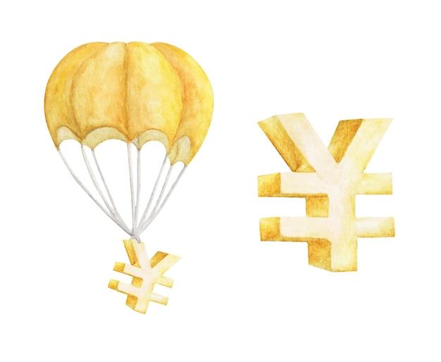Mongolfiera con yen dorato isolato su bianco