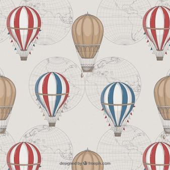 Sfondo di mongolfiere in stile vintage