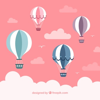 Fondo delle mongolfiere con stile disegnato del cielo a disposizione