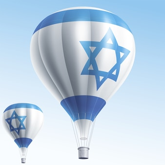 Mongolfiere dipinte come bandiera israeliana