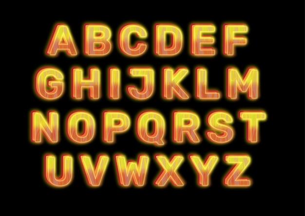 Set di alfabeti effetto bagliore ardente caldo