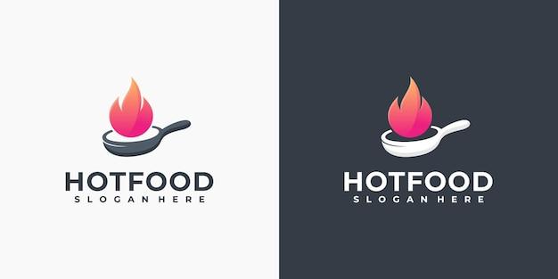 Logo dello chef caldo, logo del cibo, logo del ristorante