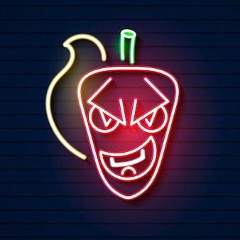 Insegna al neon del peperoncino rosso caldo con fuoco design pubblicitario luminoso notturno. illustrazione vettoriale per ristorante, bar, tavola calda, cibo messicano