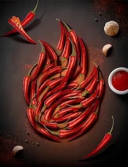 Peperoncino piccante a forma di fuoco sulla lavagna, 3d