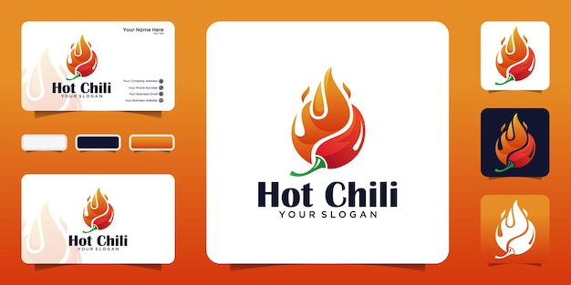 Hot chili, modello di progettazione di logo di cibo piccante e biglietto da visita