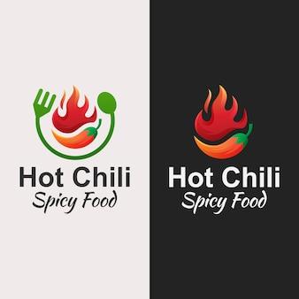 Hot chili, design del logo di cibo piccante con due versioni
