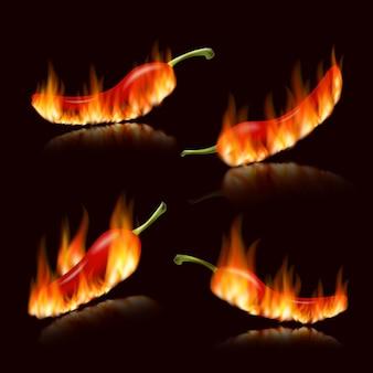 Peperoncini piccanti. peperoncino rosso realistico in fiamme di fuoco, peperoni messicani ardenti roventi