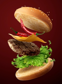 Hamburger freddo caldo che vola nell'aria nell'illustrazione 3d