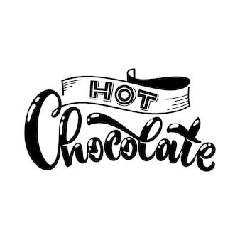 Cioccolata calda natale inverno parola composizione elementi di design vettoriale per magliette borse poster