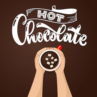 Tazza di cioccolata calda con vista dall'alto di marshmallow. mani femminili che tengono tazze di caffè. illustrazione vettoriale.