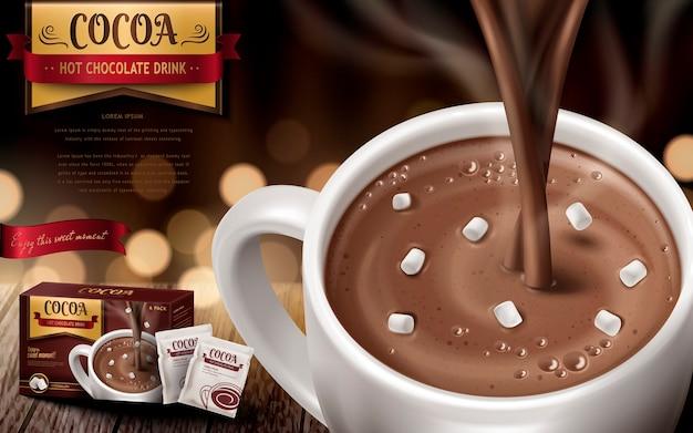 Annuncio di cioccolata calda drk, con piccoli marshmallow e sfondo sfocato
