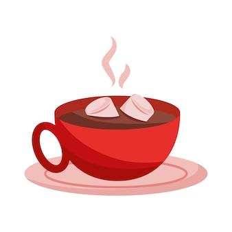 Cioccolata calda con malve isolate .vector illustration