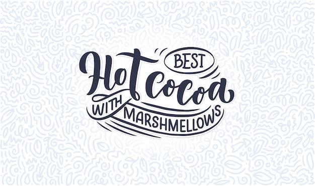 Composizione scritta a mano cacao caldo.