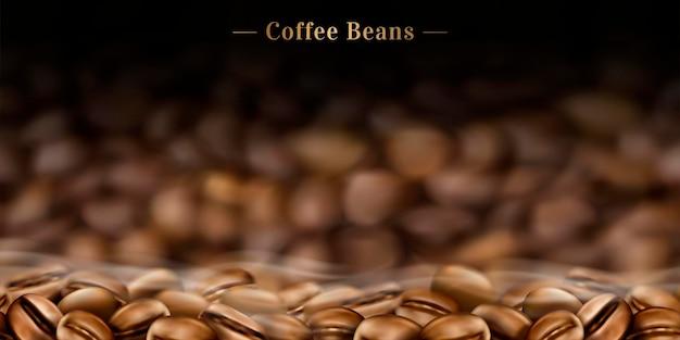 Sfondo di chicchi di caffè caldo