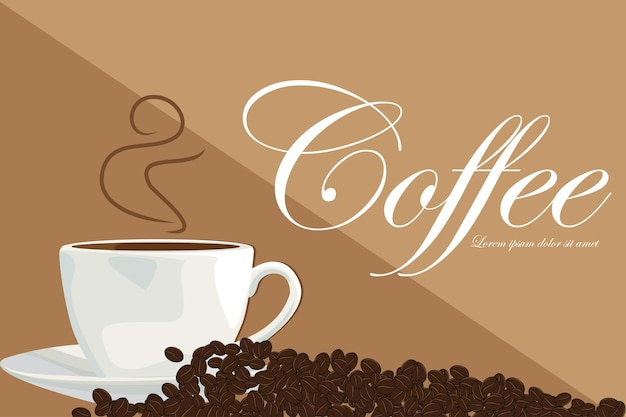 Tazza di caffè calda e illustrazione vettoriale di chicchi di caffè