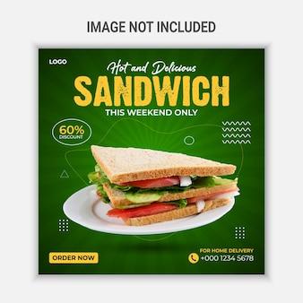 Design del modello di post sui social media con sandwich caldo e delizioso