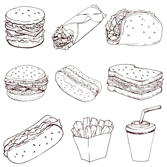 Hot dog, hamburger, taco, sandwich, burrito. set di icone di fast food isolato su priorità bassa bianca. elementi per logo, etichetta, emblema, segno, marchio.