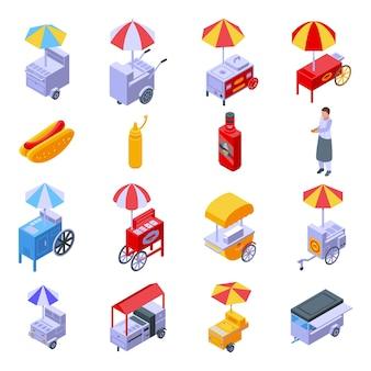 Set di carrelli per hot dog. insieme isometrico del carrello degli hot dog per il web design isolato su priorità bassa bianca