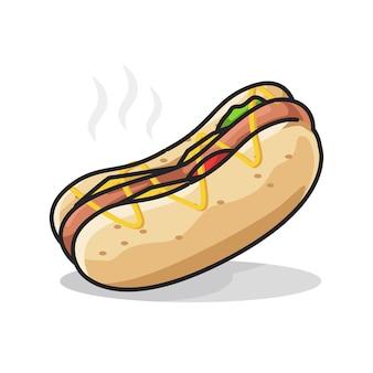 Fast food di hot dog con salsiccia in simpatica illustrazione di arte al tratto