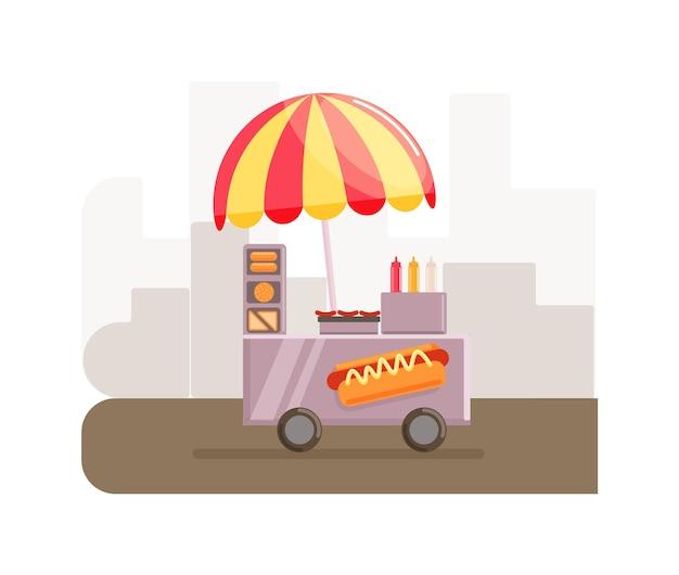 Camion commerciale di bancarella del negozio di strada del carrello di cibo per hot dog