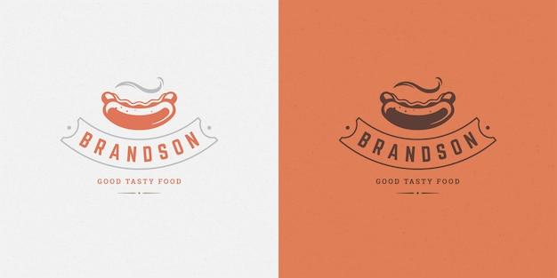 Sagoma di salsiccia logo hot dog buona per il menu del ristorante e il distintivo del caffè