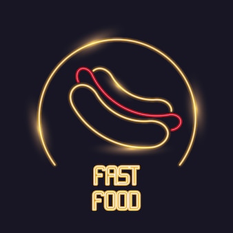 Icona di luci al neon hot dog