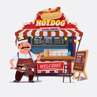 Carrello da esterno per hot dog con venditore. chef character design