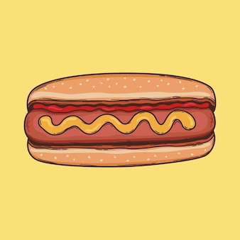 Hot dog schizzo illustrazione fast food vettore doggo con ketchup