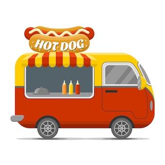 Roulotte per cibo da strada per hot dog. Vettore Premium