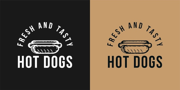 Logo vettoriale di hot dog, fast food, cibo spazzatura. illustrazione vettoriale vintage