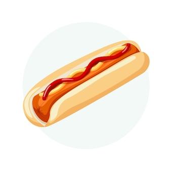 Hot dog con ketchup salsiccia di pane e senape