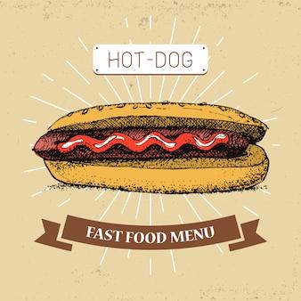 Illustrazione di cibo hot dog in stile vintage, mostrando il pasto con iscrizione,
