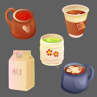 Set di bevande calde con vari modelli di tazze