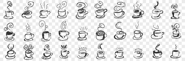 Insieme di doodle di bevande calde in tazze. raccolta di tè caldo disegnato a mano, caffè, cacao in tazze e tazze per colazione con vapore volante isolato.