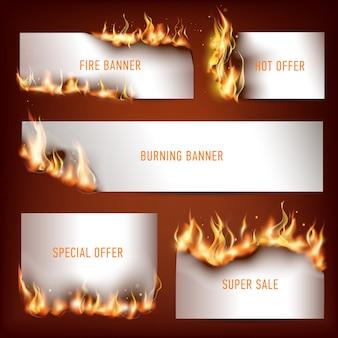 Banner pubblicitari strategici fuoco caldo impostato per l'attrazione dei clienti alle vendite di sconti stagionali