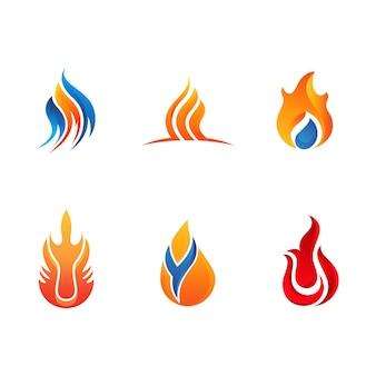 Modello di progettazione dell'illustrazione dell'icona di vettore del fuoco della fiamma calda