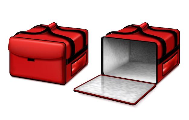 La borsa per pizza termicamente isolata del corriere per la consegna di cibo caldo ha aperto e chiuso il set realistico rosso brillante