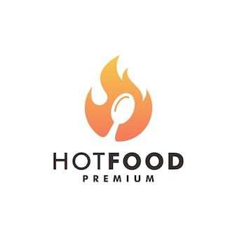 Illustrazione dell'icona della fiamma del disegno del logo del fuoco del cibo caldo