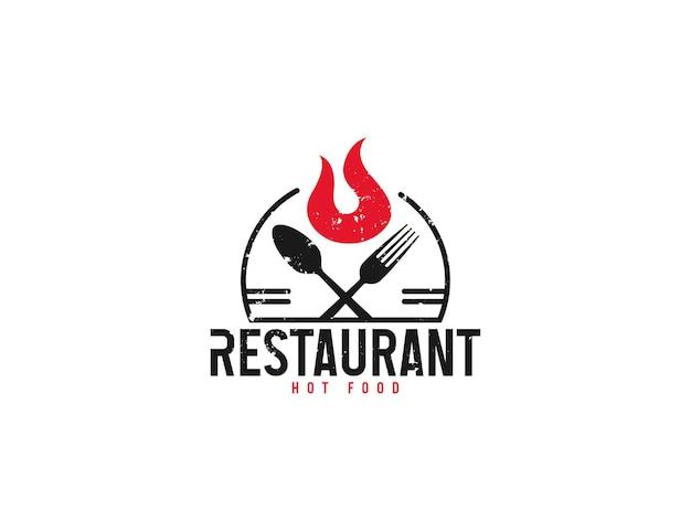 Design del logo del ristorante di cibi caldi